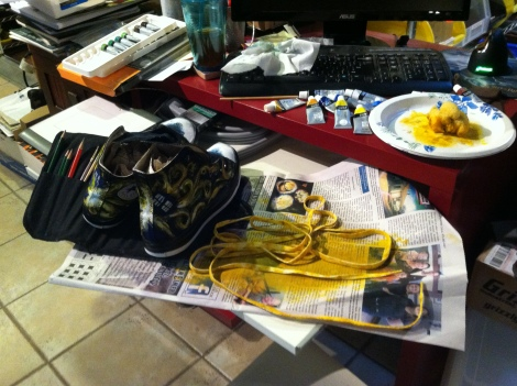 Painting TARDIS Shoes
